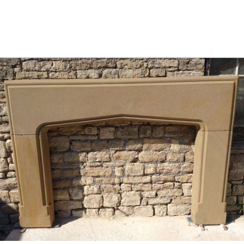 Large Antique English Yorkstone Gothic Revival Fireplace