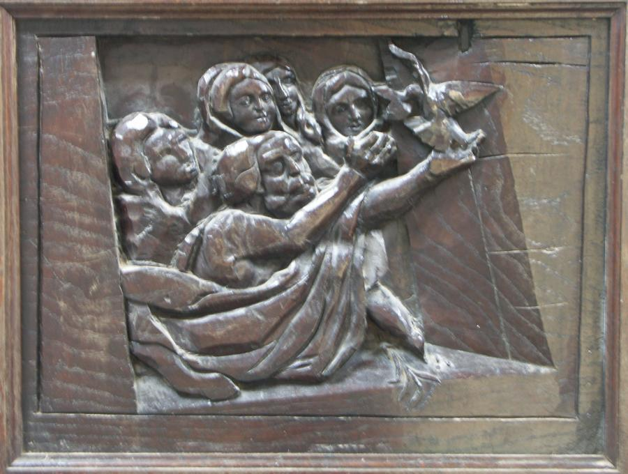 antique carved oak panel - old testament scene