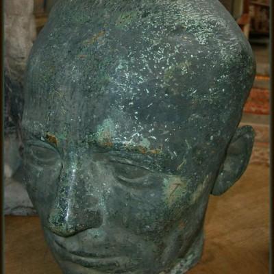 Head bronze sculpture - Tete sculptée en Bronze