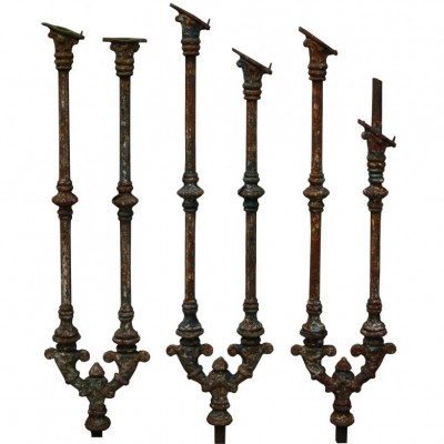 A set of 39 Victorian cast iron staircase spindles