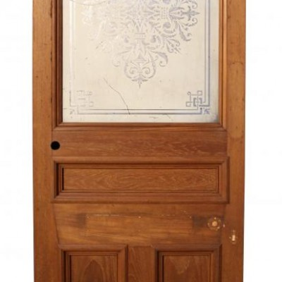 A late Victorian mirrored Teak door