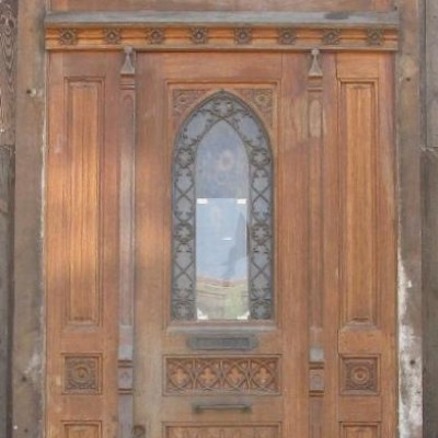 Oak double front door sash around 1900 with segmental arch frame
