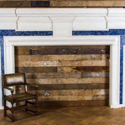 Antique Lapis Lazuli Marble Fireplace Surround