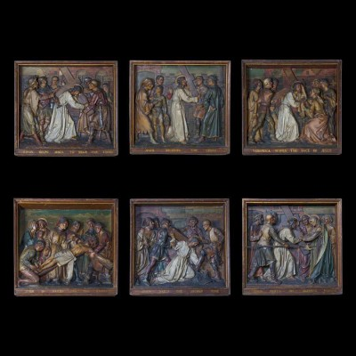 Antique Stations of the Cross Plaques