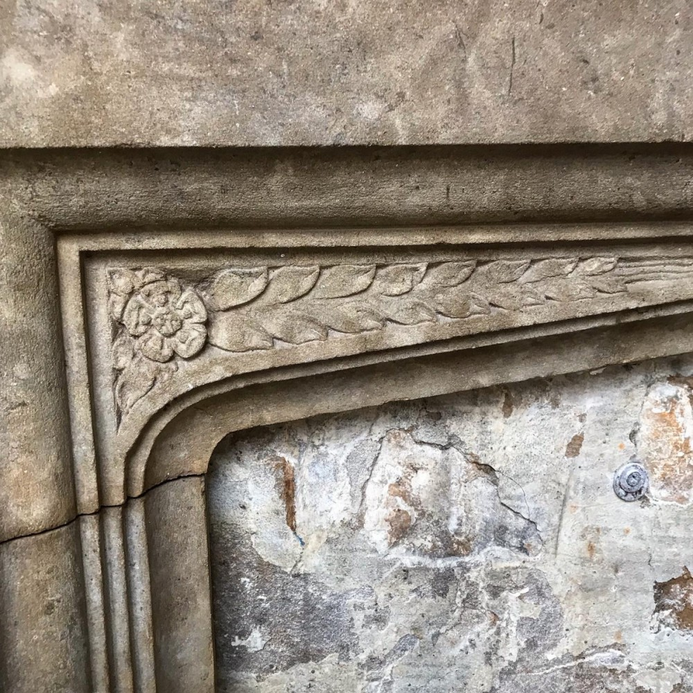 Antique English Gothic Revival Stone Fireplace