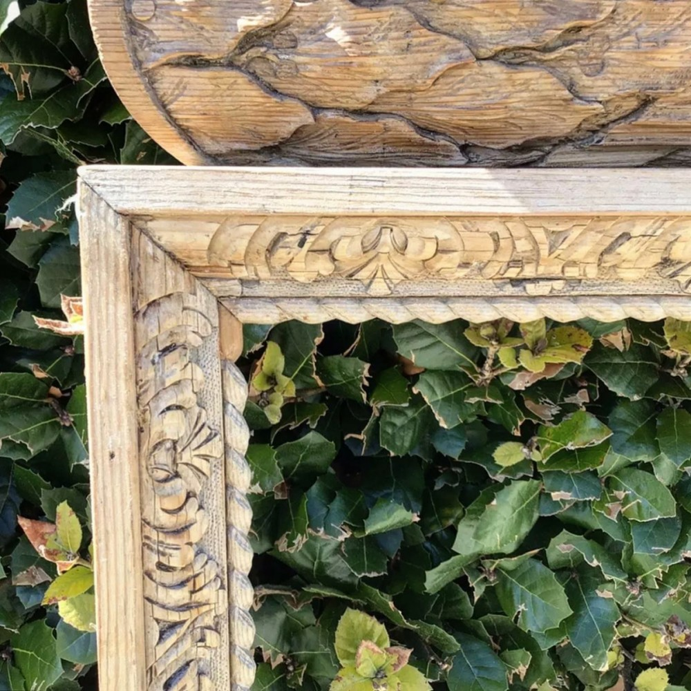 Antique English Carved Pine Fireplace