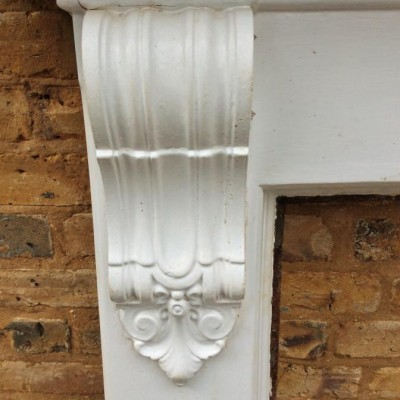 Antique Victorian Cast Iron Corbel Fireplace Surround