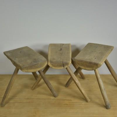 Three Three Legged Primitive Stools