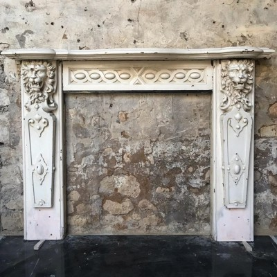 19th Century Carved English Oak fireplace