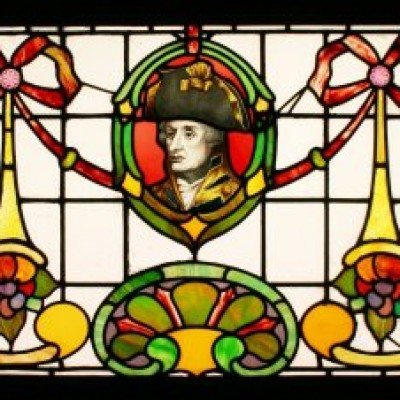 Antique Leaded Coloured & Hand Painted Stained Glass Window