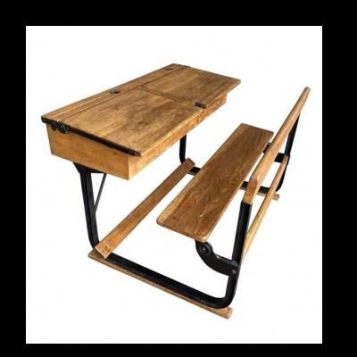 Antique Oak and Metal Twin Children's Victorian School Desk
