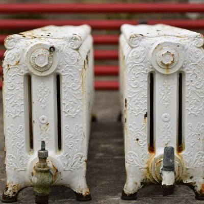 long low decorativer pair radiators-rare