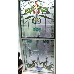 large nouveau floral window- 7 feet high