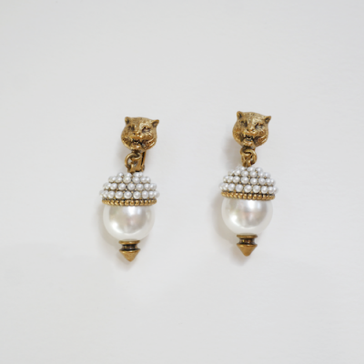 pearly pre-loved Gucci lion earrings