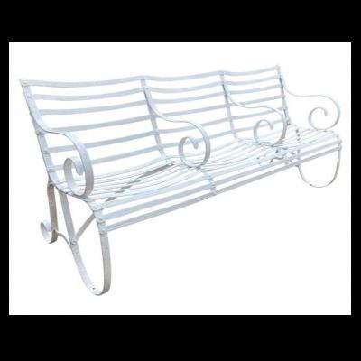 Antique Garden Outdoor Decorative White Iron Strapwork/Wirework Bench