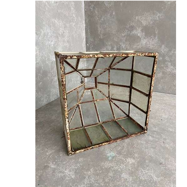 Antique Iron and Glass Garden Pyramid Cloche