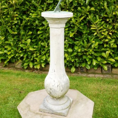 """Victorian Austin and Seeley Hand Carved Sundial - 53"""" tall"""