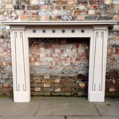 Regency Style Limestone Surround with Marble Inlay