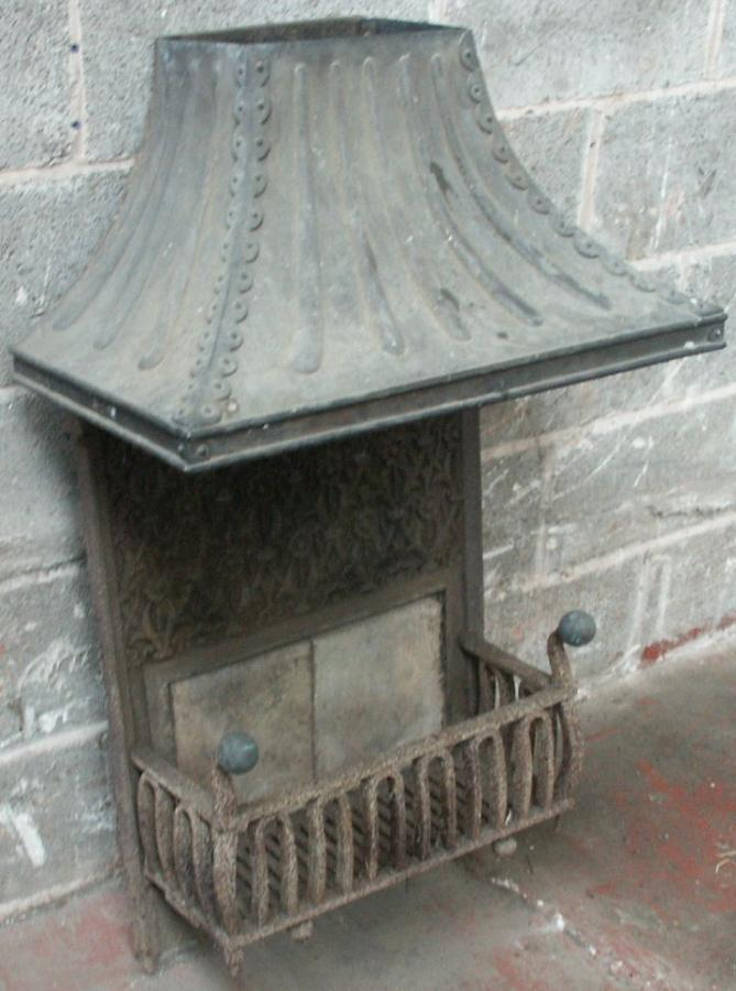 antique brass and cast iron firebasket