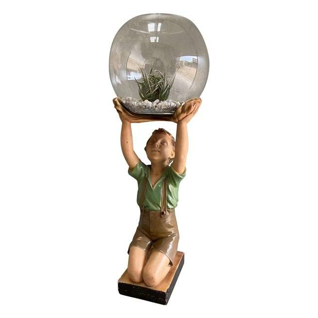 Reclaimed Young Boy Holding a Glass Fish Bowl