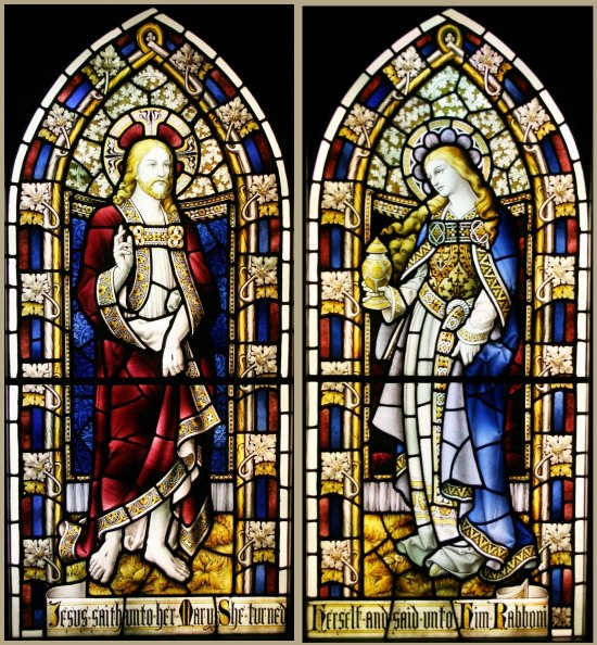 2 Church Leaded Hand Painted Stained Glass Windows
