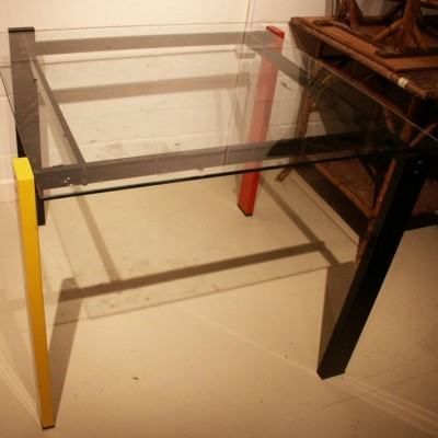 1960s matal and glass table