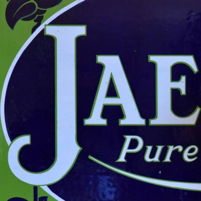 jaeger art nouveau enamel advertising sign