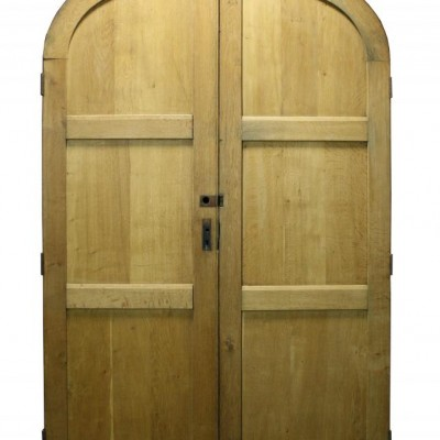 Pair of 1920s exterior arched oak double doors