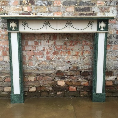 Reclaimed Regency Style Verde Marble Fire Surround