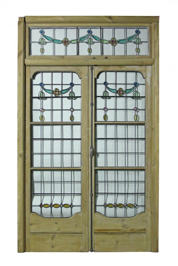 For Sale A Pair Of Antique Leaded Glass French Double Doors With