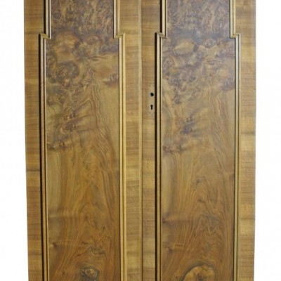 A pair of striking Art Deco burr walnut double doors