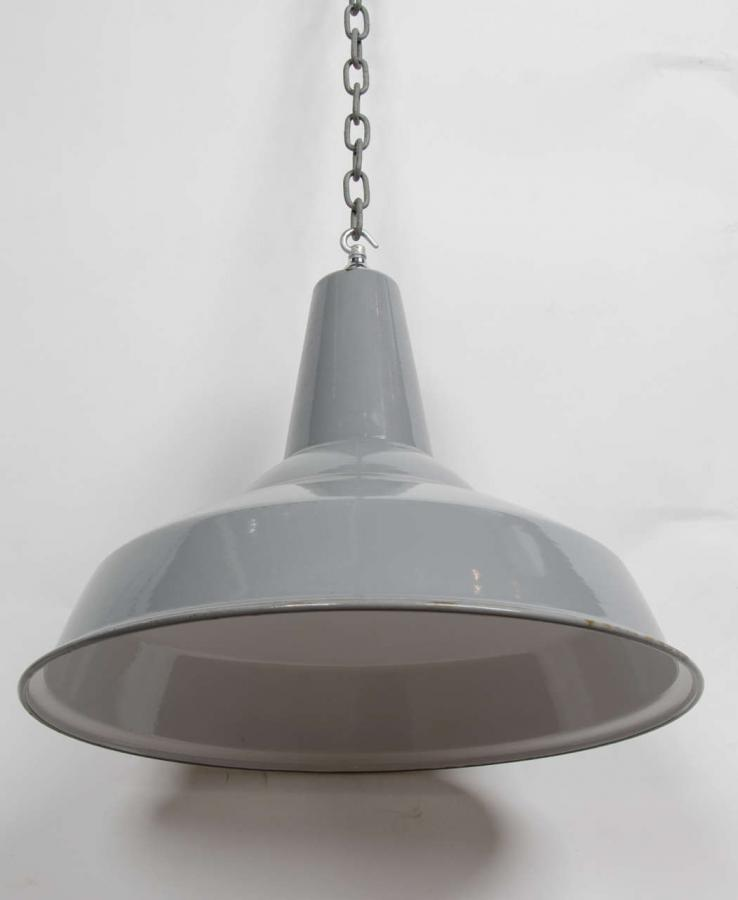 Vintage Industrial Enamel Pendant Light: For Sale Reclaimed Grey Enamel Vintage Industrial Light