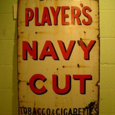 Original Mid 20th Century Reclaimed Players Smoke Navy Cut Iron