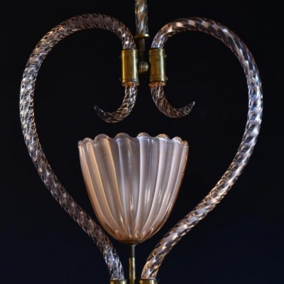 vintage murano hanging light pendant by barovier & toso 1940s