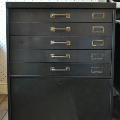 1940s vintage steel office cabinet plan chest