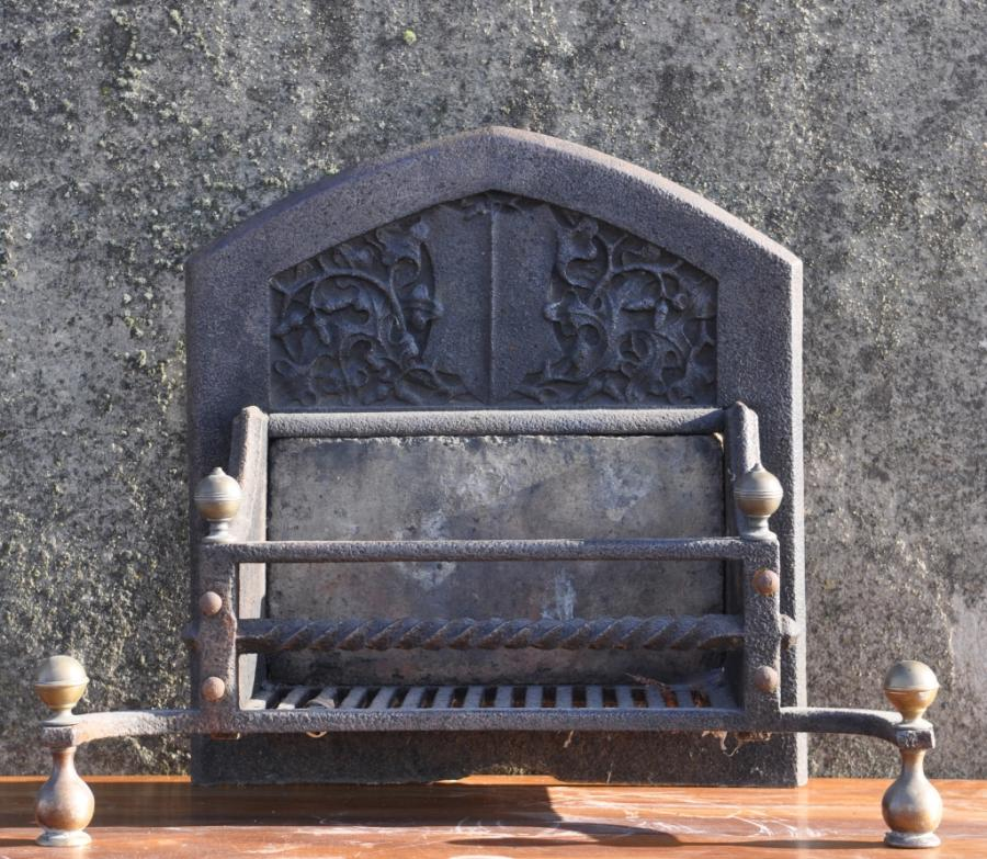 19th century antique arts and crafts dog grate.