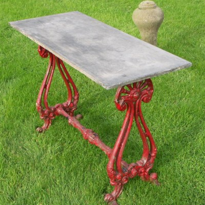 antique cast iron and slate victorian ships table