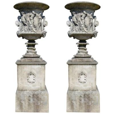 Pair of Milton Vases on Plinths