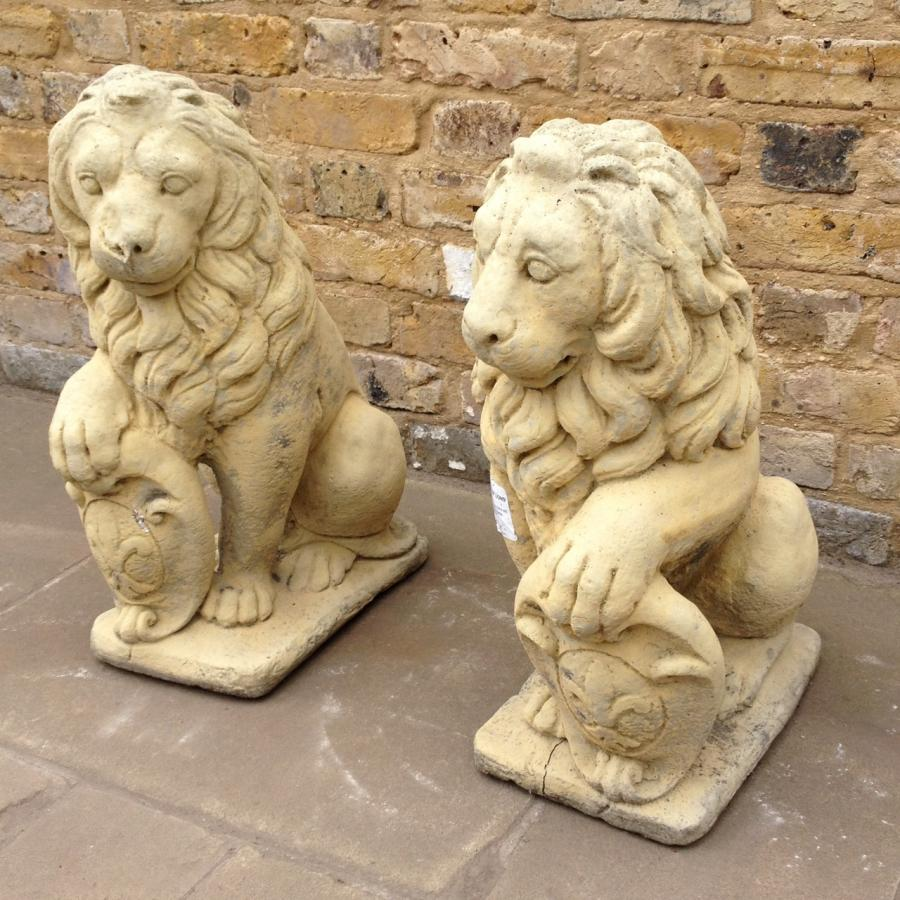 Small Pair Of reclaimed Lions