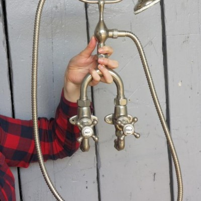 Antique Wall Mounted Shower Head Mixer - In Working Order - 70mm