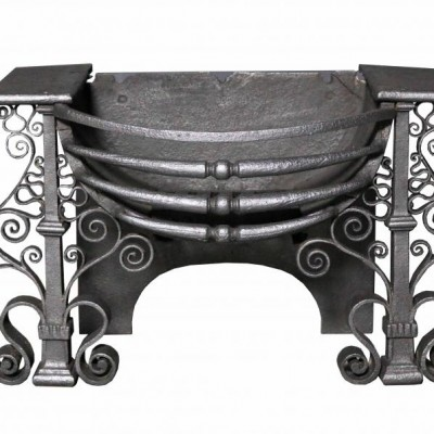 A late 19th Century wrought iron fire grate