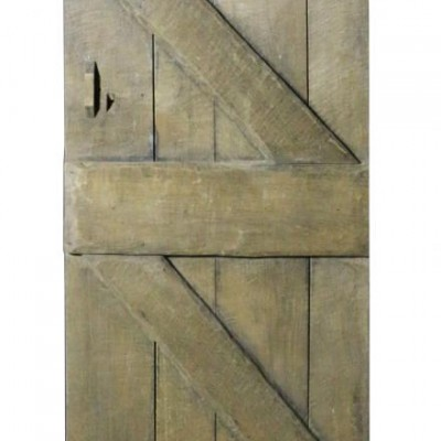 An Arts and Crafts English oak plank / ledged and braced door