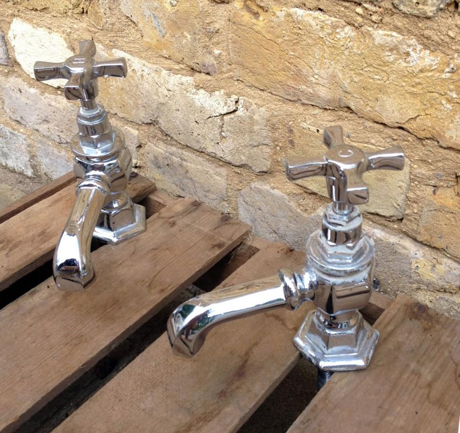 A Pair Of Reclaimed Art Deco Stye Bath And Sink Taps