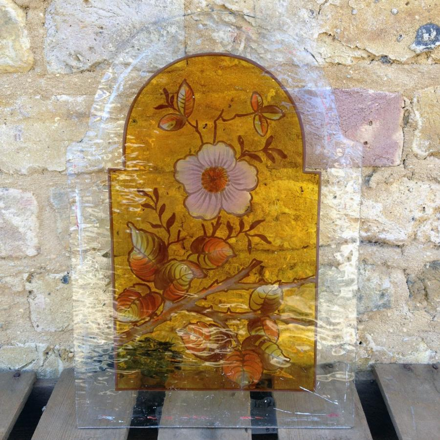 Three Flower Glass Panels