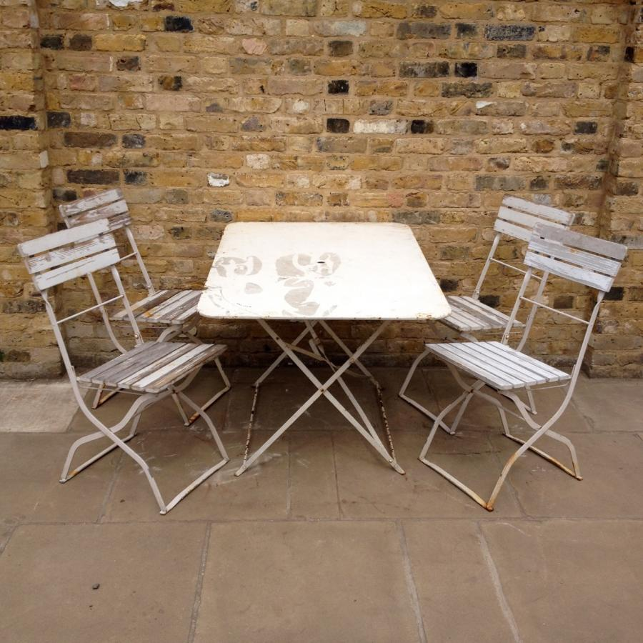 White Reclaimed Garden Table And Chairs