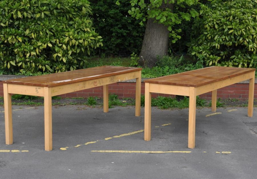 Pair Iroko topped school tables - one now available