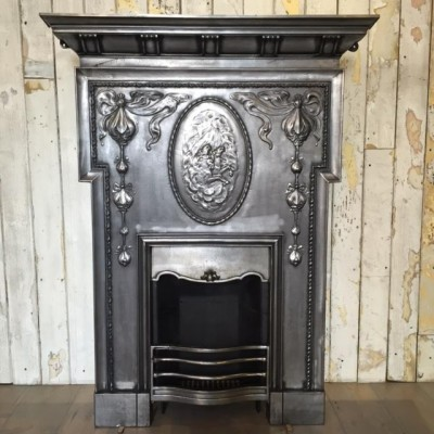 Antique Edwardian Polished Cast Iron Fireplace