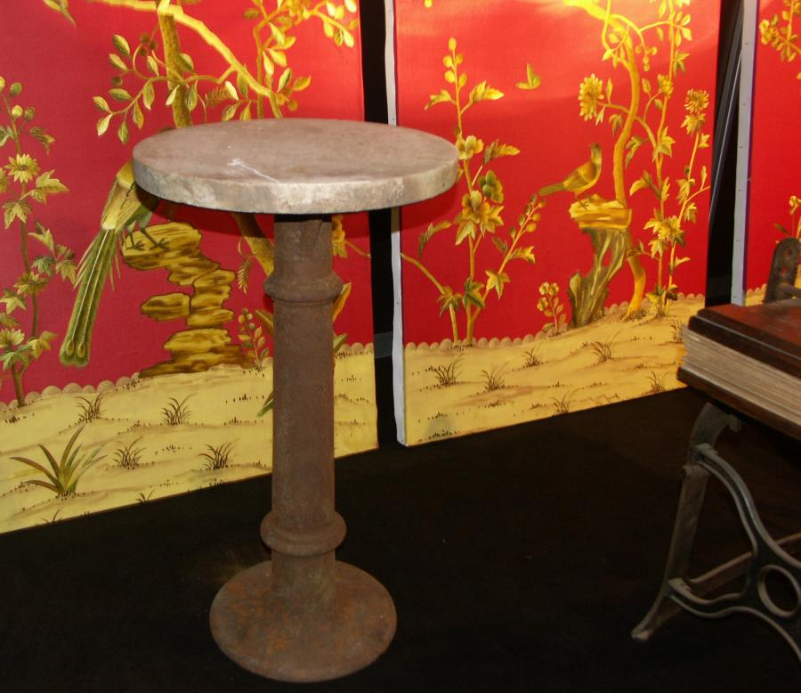 Antique cast iron and marble table