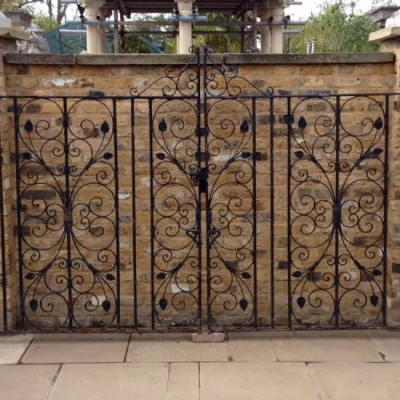 Reclaimed Iron Driveway Gate With Pedestrian Gate