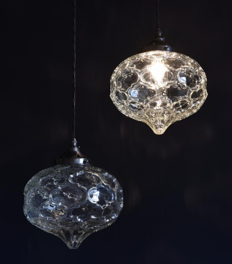 pair of moulded clear glass vintage globes